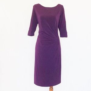Tahari Purple Knit Ruched Side Buckle Dress